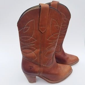 Frye Western Boots Leather Stacked Heel Tan